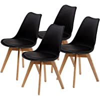 Replica Eames PU Padded Dining Chair - BLACK X4