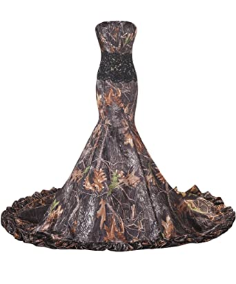 Amazon.com: Avril Dress Gorgeous Wedding Gown Prom Dress Sheath Camo ...