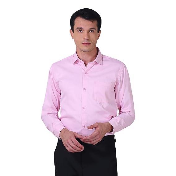 9fefe128de8522 One Dot Men's Plain Cotton Pink Formal Shirt: Amazon.in: Clothing ...