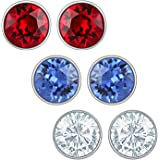 Mahi Blue Red And White Rhodium Plated Swarovski Element Round Stud Earring For Women Co1104230R