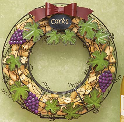 Amazon.com: Unique Grape & Grapevine Metal Wine Cork Holder Wreath ...