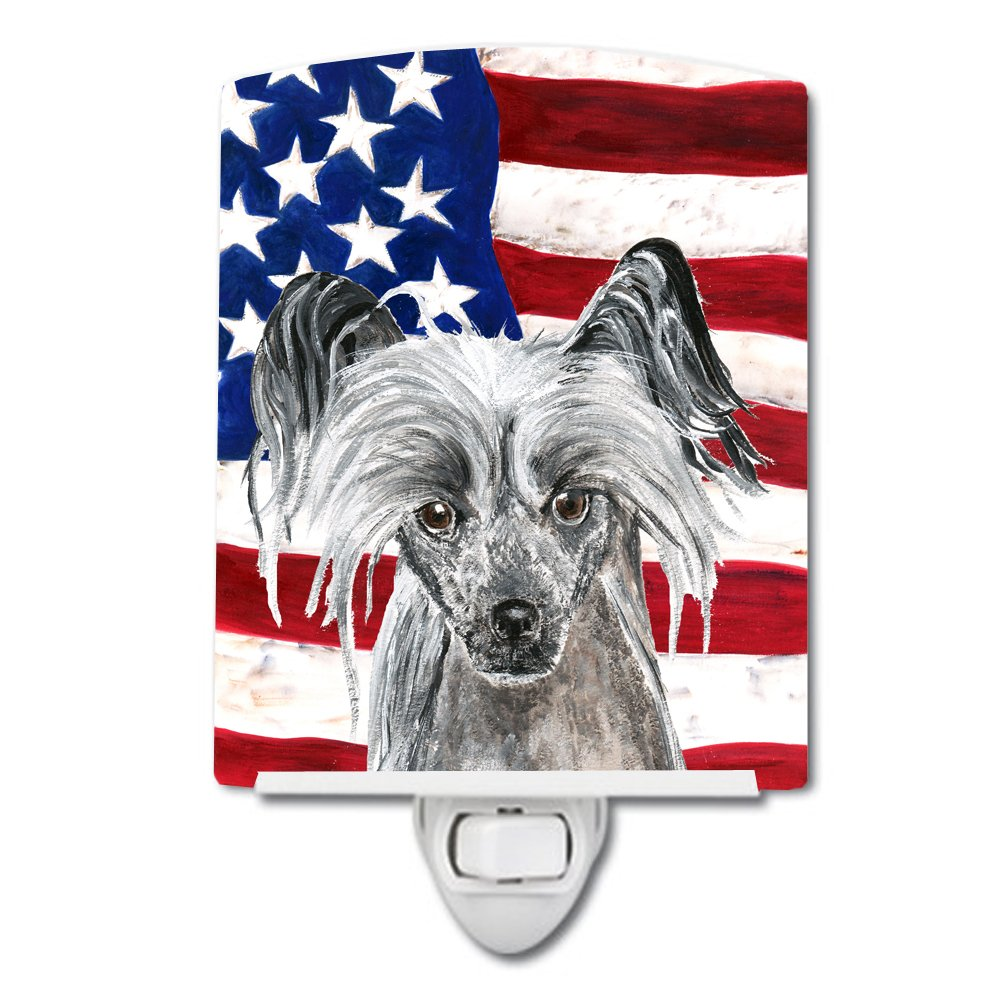 Caroline's Treasures Chinese Crested with American Flag Night Light, 6'' x 4'', Multicolor