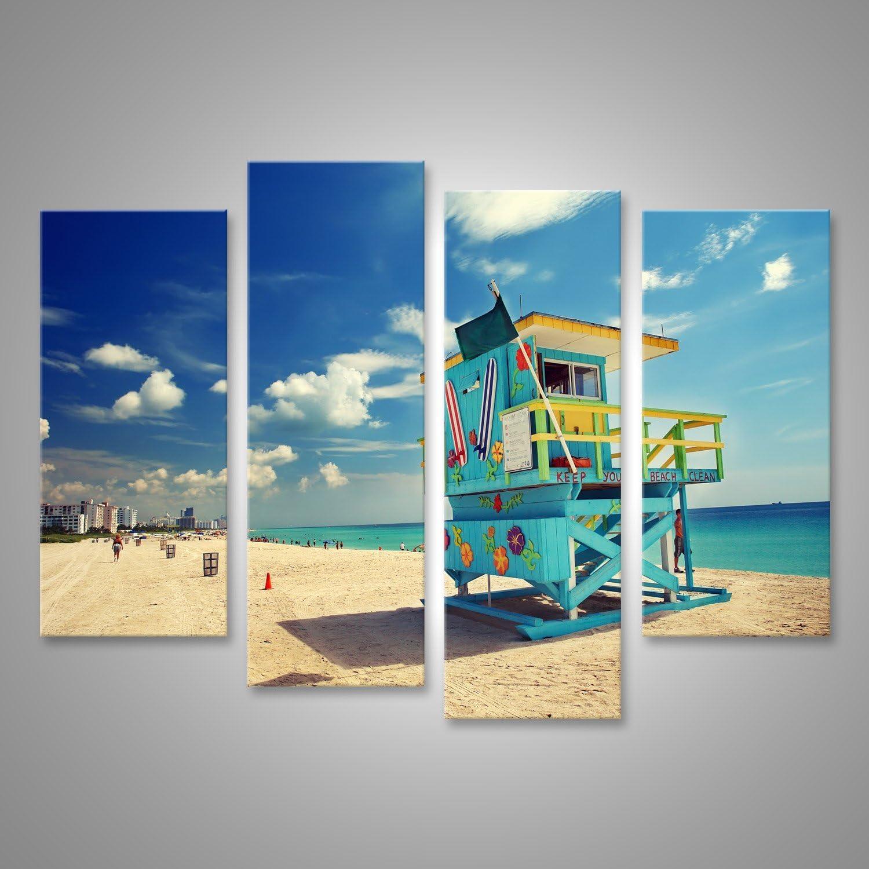 Floride Grand Format Cadeau EVW islandburner Tableau Tableaux sur Toile South Beach /à Miami