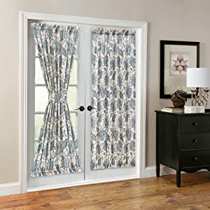 French Door Panel Curtains Paisley Scroll Printed Linen Textured French Door Curtains 72 inches Long French Door Panels, Tieback Included, 1 Panel, Teal