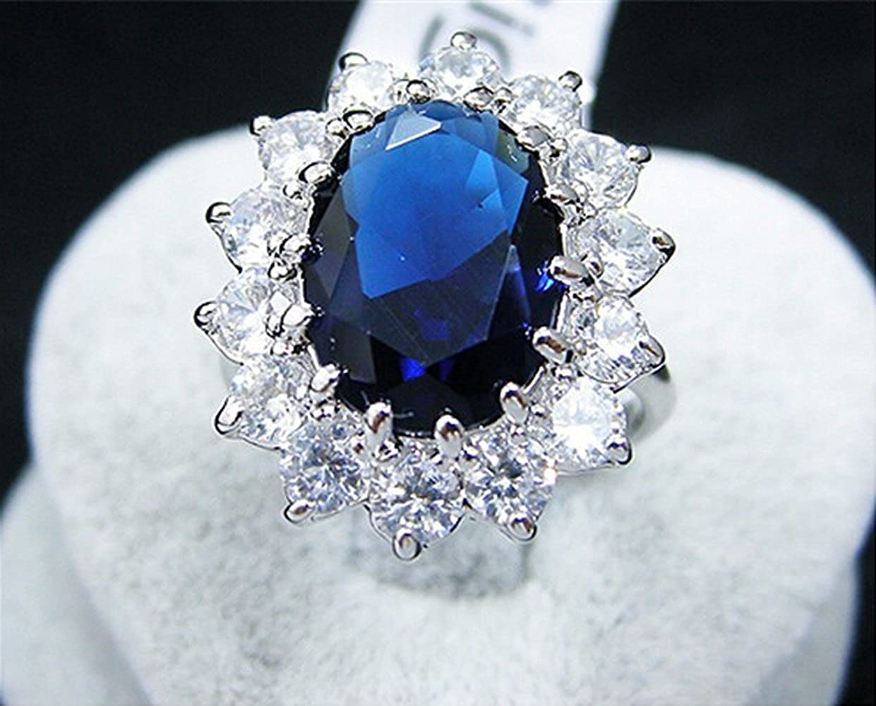 Adorable Woman Shappire Ring Costly Diamond Large import zircon Ring 515MzF2BlI8L