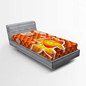 Ambesonne Orange Fitted Sheet, Funny Goldfish Talking with Bubbles on Random Scallop Pattern Nautical Sea Asian Scales Print, Soft Decorative Fabric Bedding All-Round Elastic Pocket, Twin Size, Orange