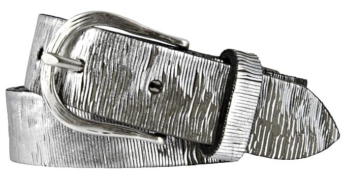 5180c91e356bec Vanzetti Damen Leder Gürtel Vollrindleder Metallicfinish Damengürtel silber  30 mm Ledergürtel (80 cm)