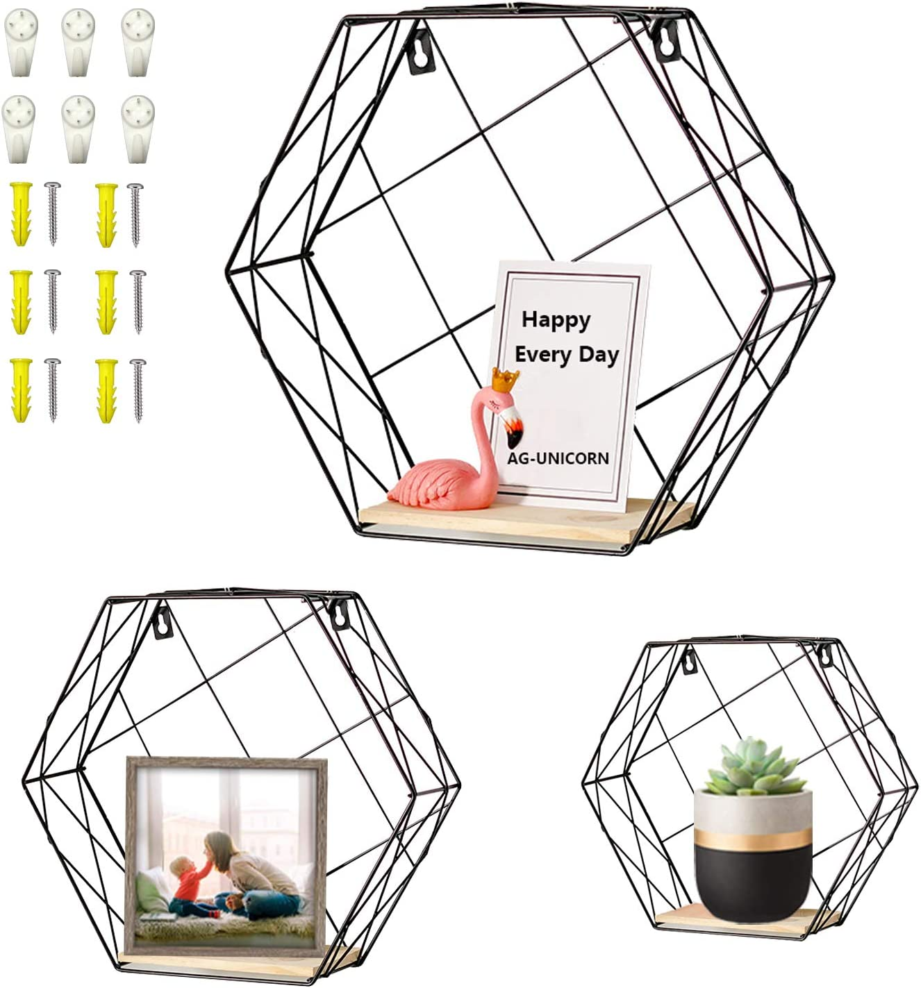 AG-UNICORN Set of 3 Metal Wall Mounted Hexagon Floating Shelves Storage Display Shelf- Modern Home Art Decor for Living Room Bedroom Bathroom Kitchen Office and Study- with Screws Anchors