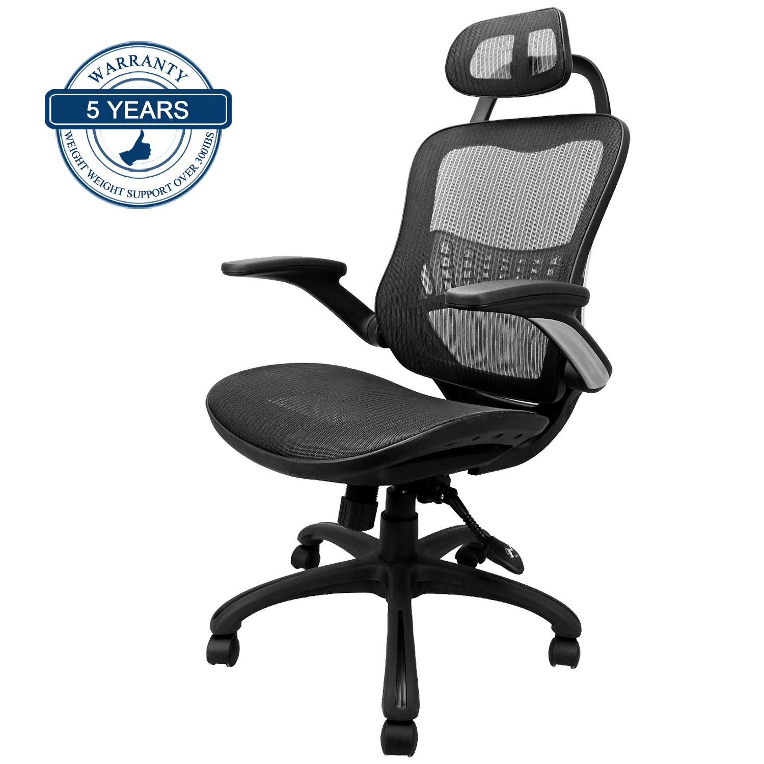 Komene Ergonomic Chairs for Office &Home: Passed BIFMA/SGS Weight Support Over 300Ibs,The Most Comfortable Mesh Cushion&High Back-Adjustable Headrest Backrest,Flip-up Armrests,360-Degree Swivel Chairs