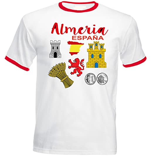 teesquare1st ALMERIA Spain Tshirt de Hombre con Bordes Rojos Size Small: Amazon.es: Ropa y accesorios
