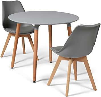 aa3df4fc9f5d Your Price Furniture.com Toulouse Tulip Eiffel Style Dining Set - Grey  90cms Small Round Table And 2 Grey Chairs: Amazon.co.uk: Kitchen & Home