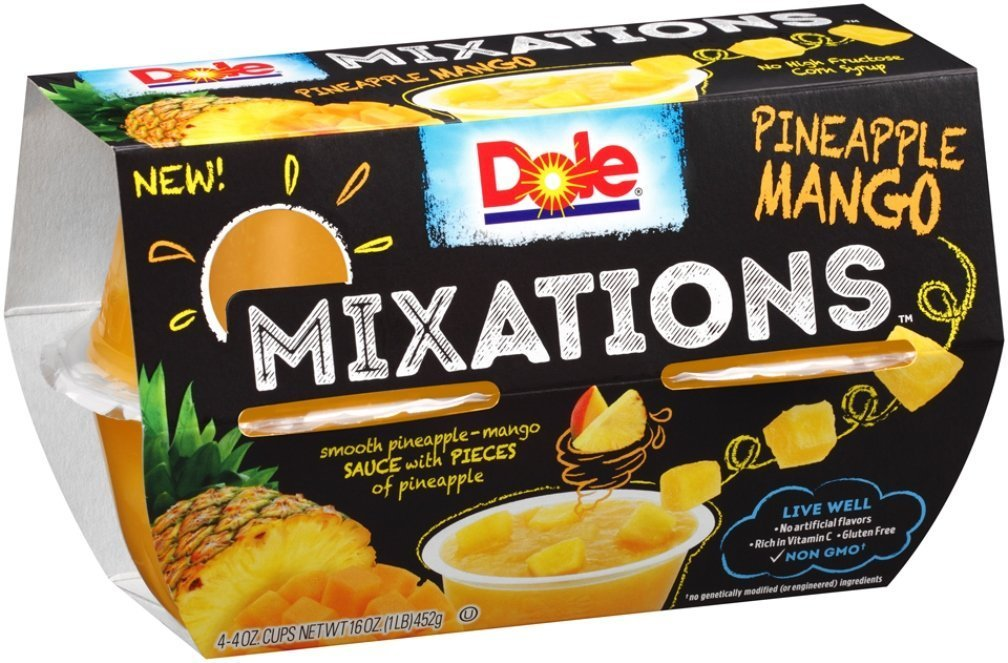 Dole Mixations Fruit Bowl, Pineapple Mango, 4 Ounce Pack of 2