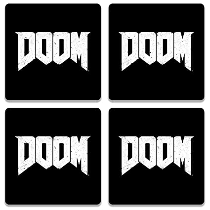 Doom 4 Piece Wooden Coaster Set