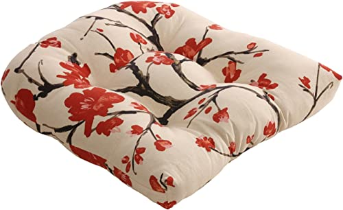 Pillow Perfect Flowering Branch Chair Cushion, Beige Red,19 in. L X 19 in. W X 5 in. D
