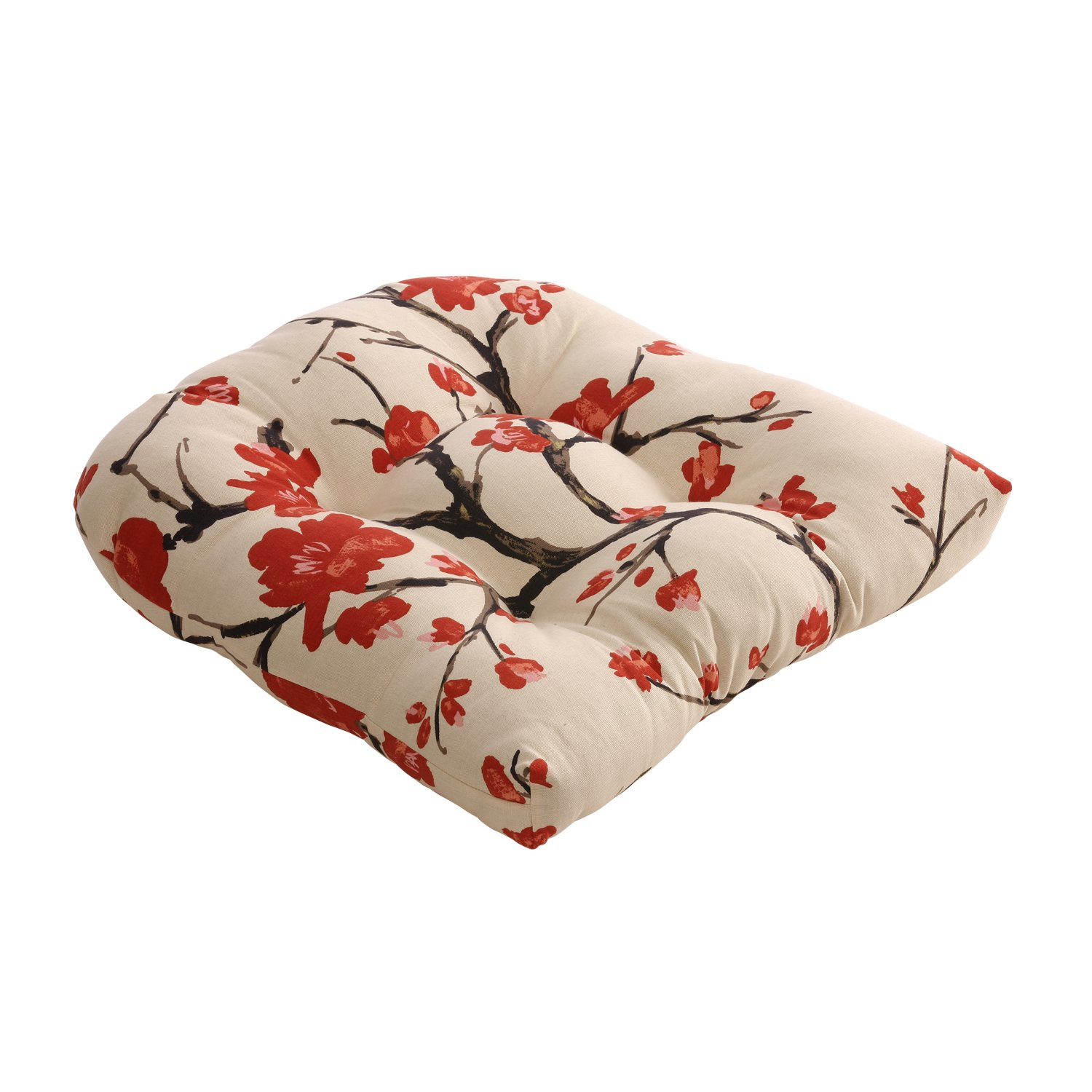 Pillow Perfect Flowering Branch Chair Cushion, Beige Red