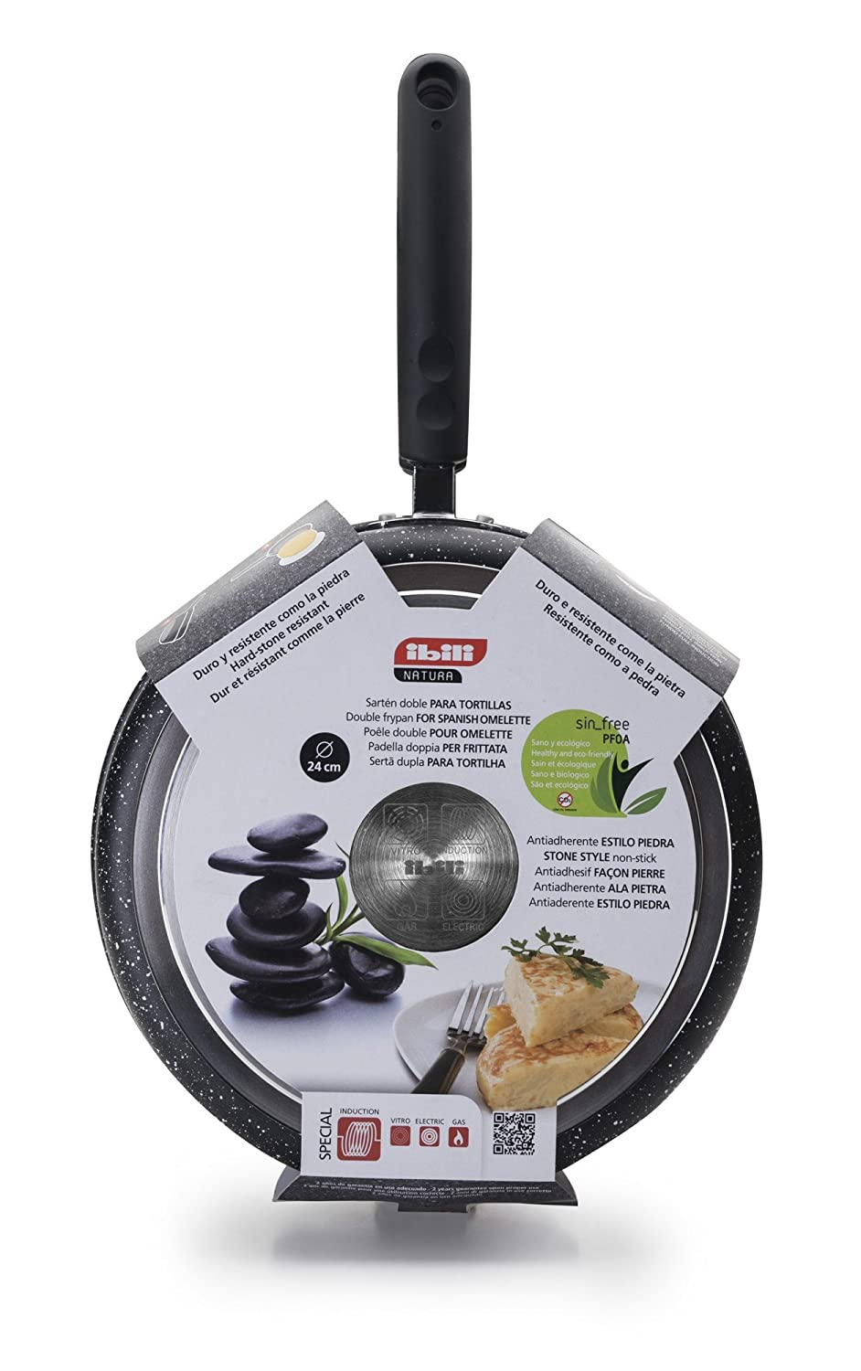 Ibili Stone Quartz Induction Non Stick Omelet Tortilla Pan with Lid 8
