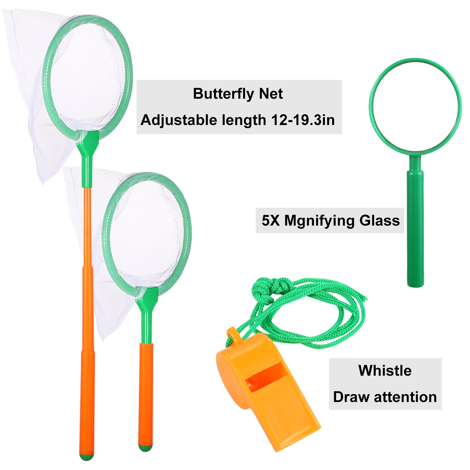 Outdoor Adventure Set for Kids - Explorer Kit, Educational Toys, Binoculars, Flashlight, Compass, Magnifying Glass, Butterfly Net, Tweezers, Bug Viewer, Whistle, Gift Set For Camping Hiking Backyard by Harlerbo (Image #6)