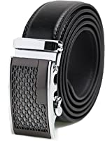 Mens Genuine Leather Dress Belt - Automatic Sliding Buckle Ratchet Adjustable Track Belt, Platinum Hanger