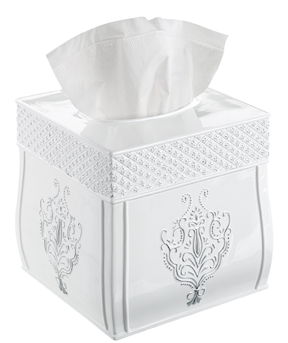Creative Scents Square Tissue Box Cover – Decorative Tissue Holder is Finished in Beautiful Vintage White, Bathroom Accessories