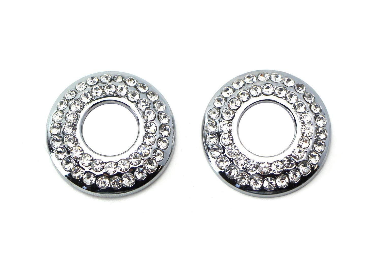 2 Bling Crystal Decor Alloy Door Lock Knob Ring Covers For MINI Cooper R55 R56 R57 R58 R59 R60 etc iJDMTOY