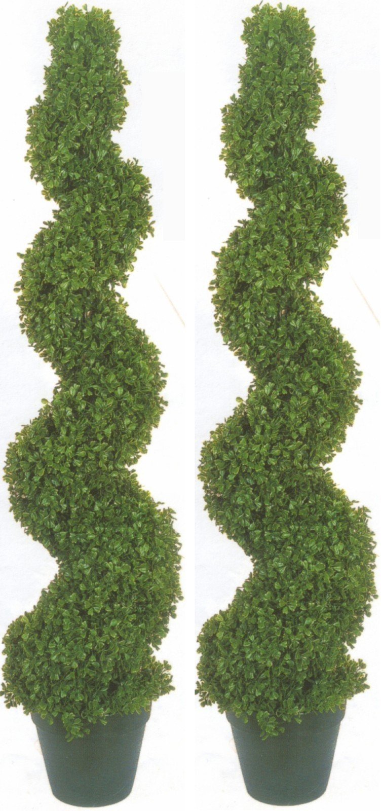 Two 4 Foot 2 Inch Artificial Boxwood Spiral Topiary Trees Potted Indoor or Outdoor