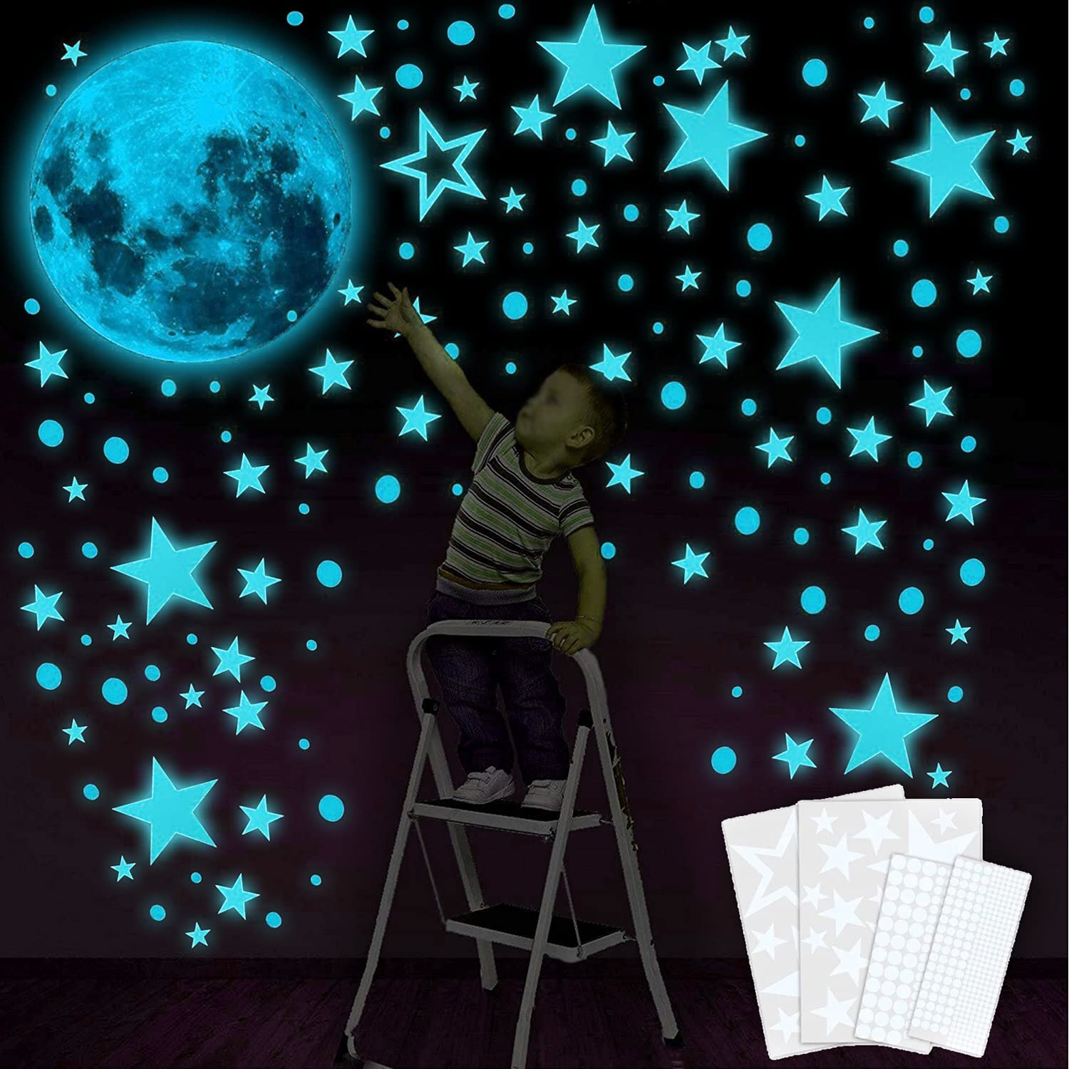 Glow in The Dark Stars for Ceiling, Glow in Dark Stars and Moon, 435 PCS Glow in The Dark Star Stickers for Kids Girls Boys, Wall Decors for Bedroom, Living Room, Birthday Party (Large, Blue)