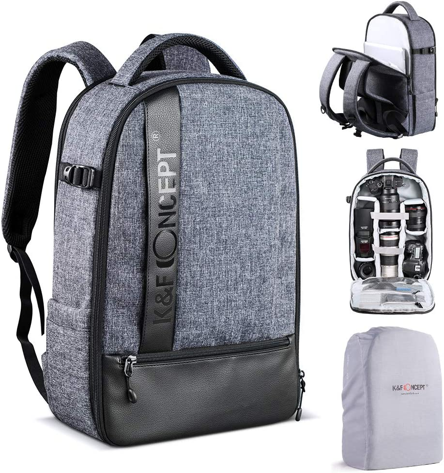 K&F Concept Camera Backpack Professional Large Capacity Waterproof Photography Bag for DSLR Cameras,14-15 inch Laptop,Tripod,Lenses