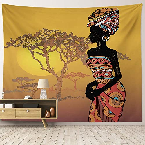HIYOO Home Nature Art Wall Hanging Fabric Tapestry, Ancient African Woman Tapestry, Decor For Dorm Room, Bedroom, Living Room, Party Background – African Beauty 90 W x 71 L