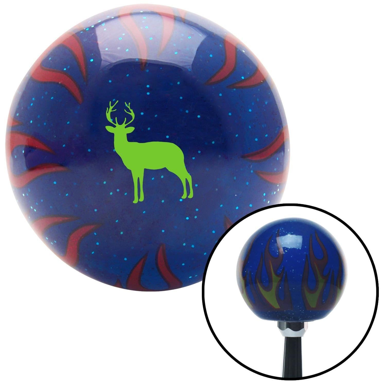 American Shifter 297605 Shift Knob Green Deer Silhouette Blue Flame Metal Flake with M16 x 1.5 Insert
