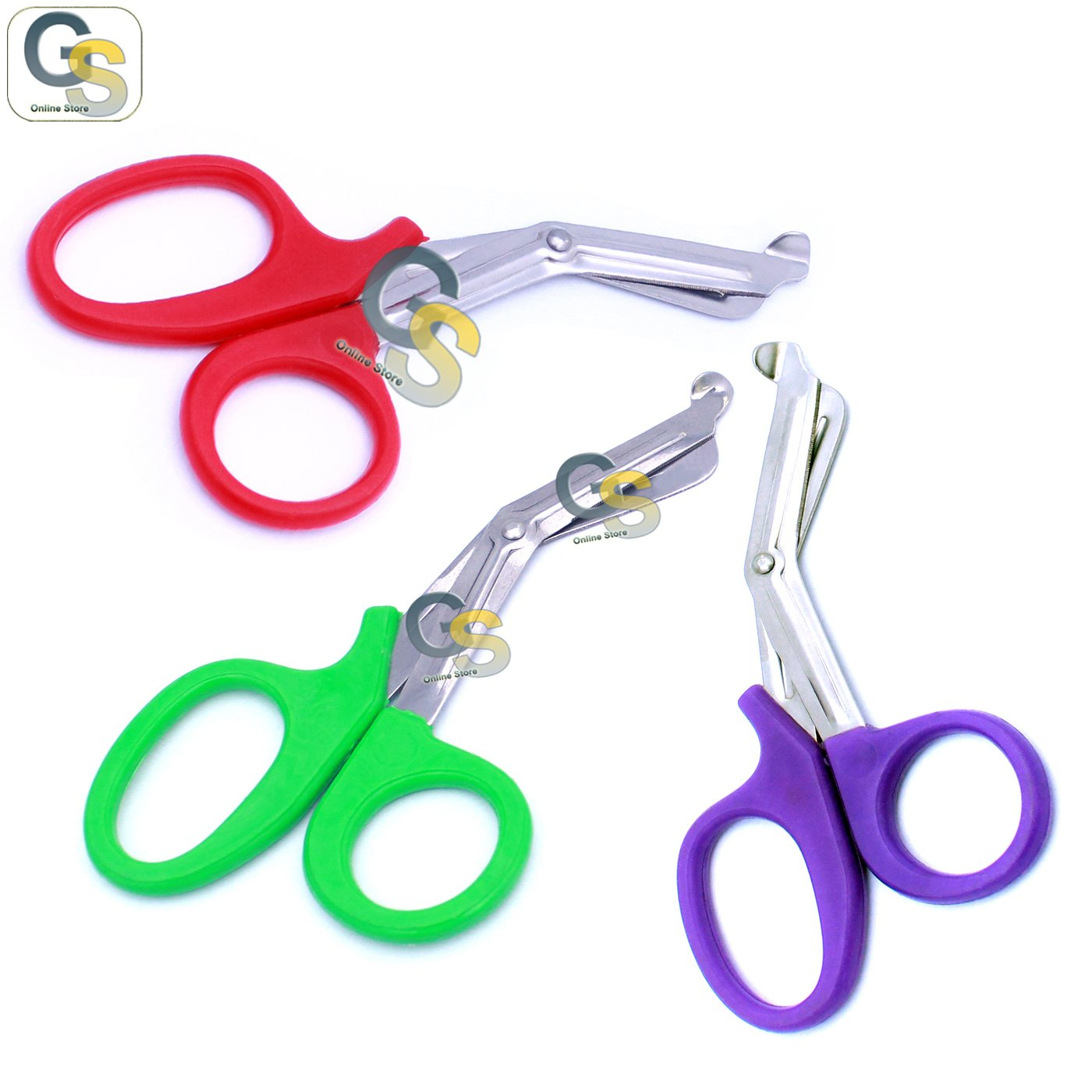 G.S 3 PCS (RED & GREEN & PURPLE) PARAMEDIC UTILITY BANDAGE TRAUMA EMT EMS SHEARS SCISSORS 7.25 INCH STAINLESS STEEL