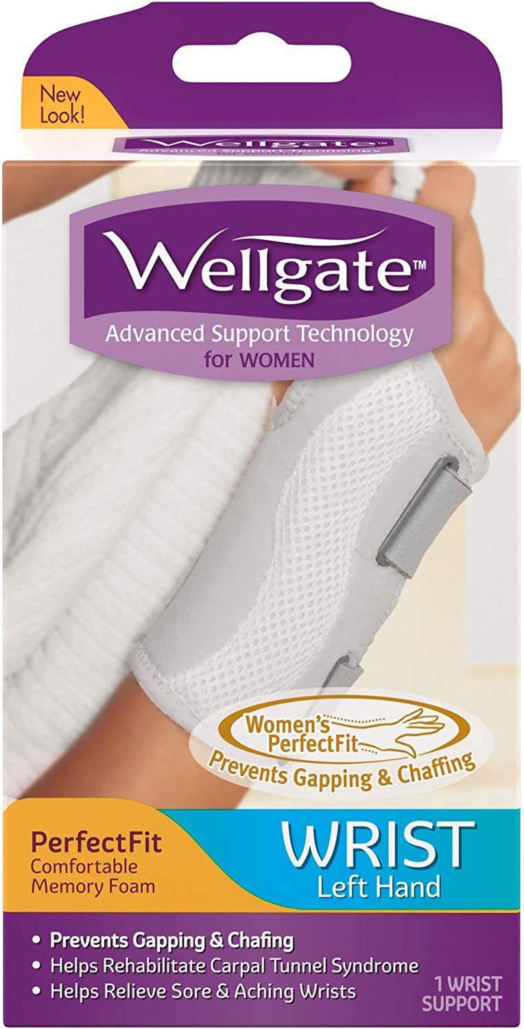 Wellgate for Women, PerfectFit Wrist Brace for Wrist Support - Left: Health & Personal Care