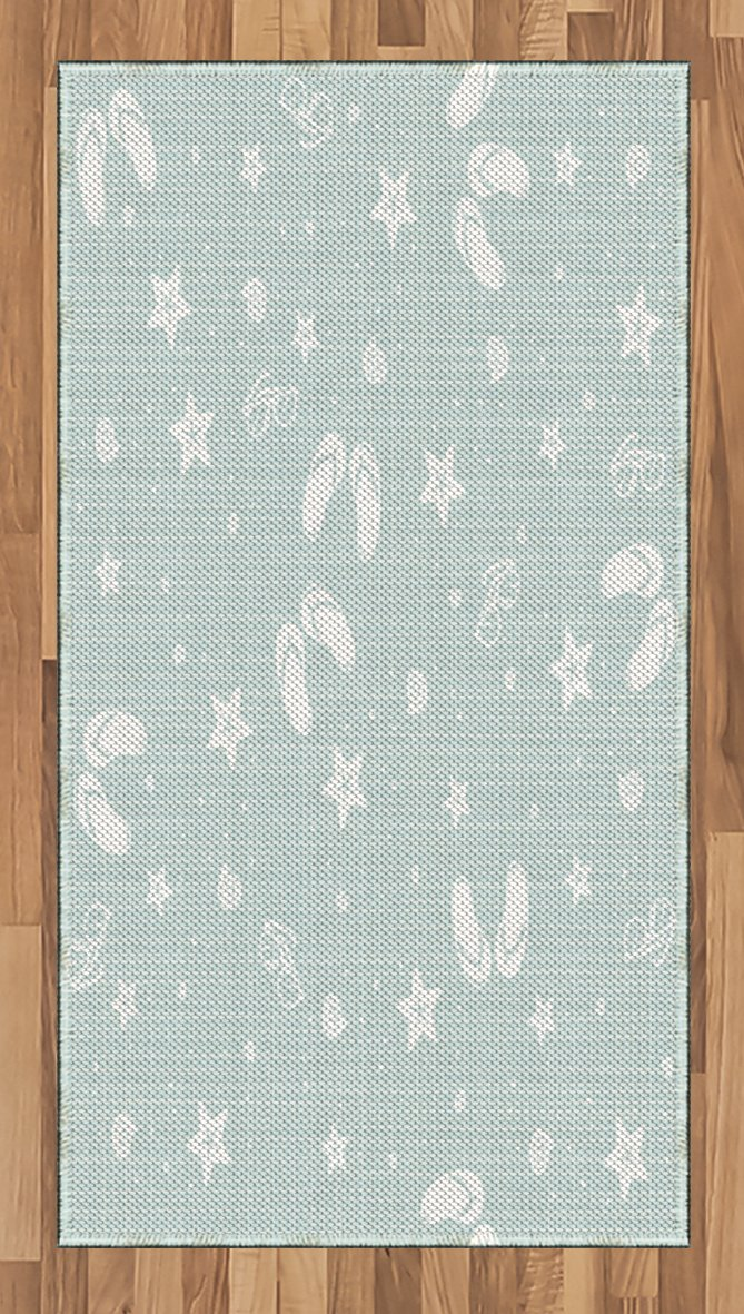 Ambesonne Aqua Area Rug, Beach Theme Design Shells Starfishes Flip Flops Glasses Summer Holiday Image, Flat Woven Accent Rug for Living Room Bedroom Dining Room, 2.6 x 5 FT, Seafoam and White