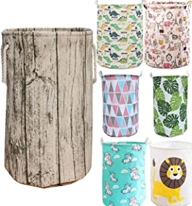 Unibedding Storage Basket Bin Tree Stump with Rope Handles, Stylish Rustic Decorative and Convenient for Laundry Hamper, Kids Bedroom, Baby Nursery, Cotton Fabric