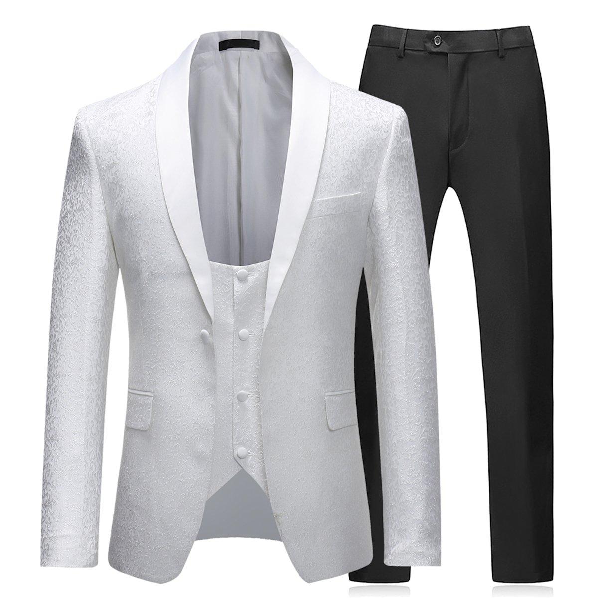 Abito da Uomo 3 Pezzi Slim Fit Wedding Abiti da Pranzo per Uomo Giacca Scialle Bavero Bavero Giacca Gilet Pantaloni