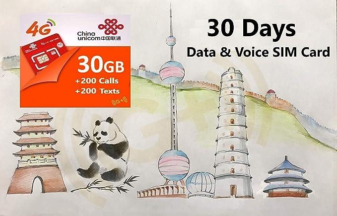 Amazon.com: China 4G LTE Tarjeta SIM de voz y datos prepago ...
