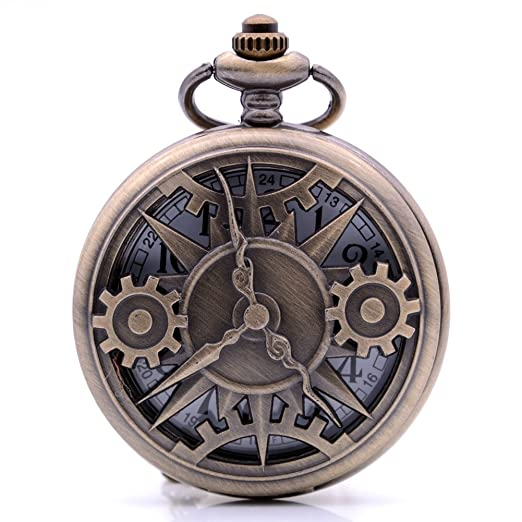 3becabe5c Amazon.com: Steampunk Vintage Bronze Pointer Gear Quartz Pocket ...