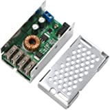 DROK DC-DC Buck Power Supply Module 9-36V to 5V Low Voltage Regulator Converter 5A 25W Volt Transformer with 4 USB Port Supporting Fast Charging for Android iPhone