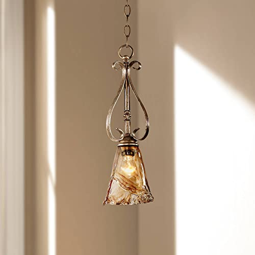 Amber Scroll Golden Bronze Silver Mini Pendant Light 6 Wide Rustic Art Glass Fixture for Kitchen Island Dining Room – Franklin Iron Works