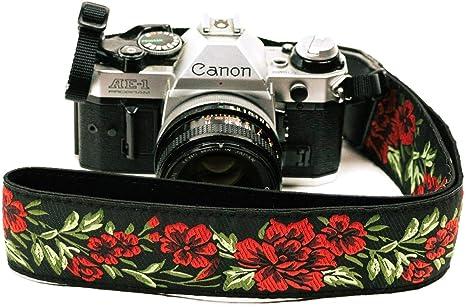 Correa de cámara con rosas para cámaras DSLR – Elegante correa universal de algodón para réflex – Correa de hombro y cuello para Canon, Nikon, Pentax, ...