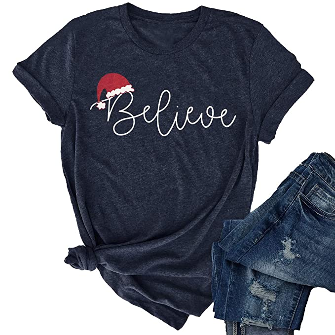 9a250fa3 JINTING Christmas Believe Hat Shirt Cute Short Sleeve Christmas Graphic  Print Tee Shirts Tops for Women at Amazon Women's Clothing store: