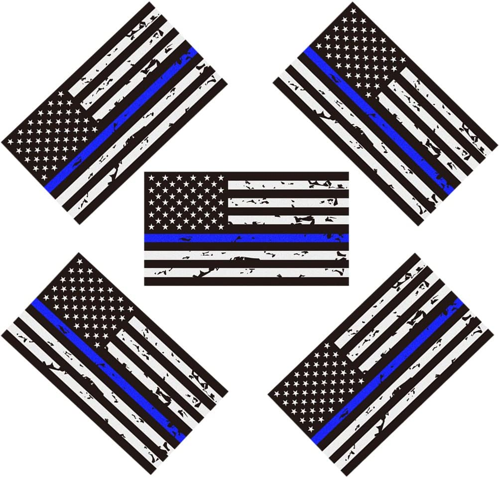 "5 Pack New Reflective Tattered Thin Blue Line US Flag Decal Stickers | Compatible with Cars & Trucks, 5"" x 2.7"" American USA Flag Decal Sticker Honoring Police Law Enforcement Vinyl Window Bumper Tape"