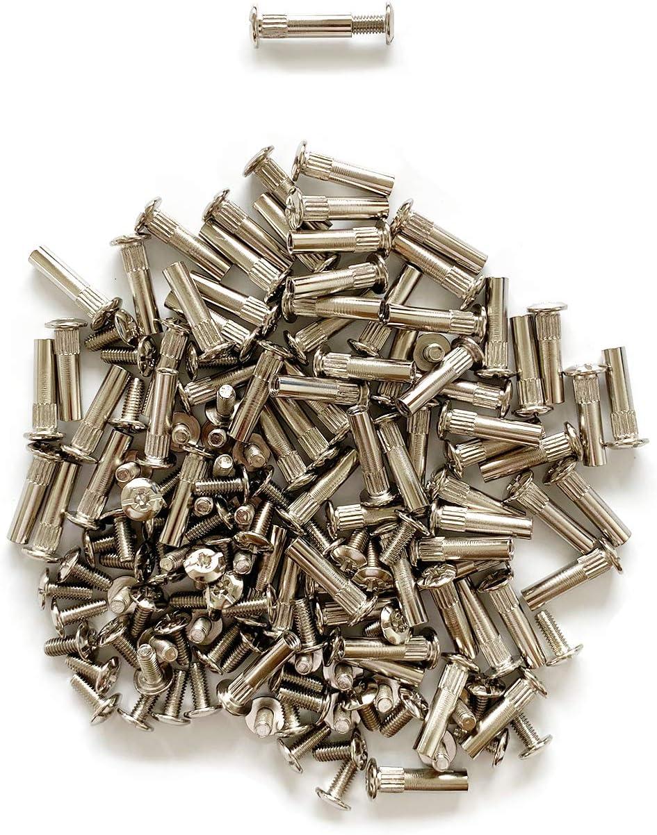 LIKERAINY 75 St/ück M/öbelverbinder Schrauben M/öbelschrauben M7,4 H/ülsenschrauben Verbindungsschraube mit H/ülse Vernickelt f/ür Kleiderschrank K/üchenschrank M/öbel Holzdicke 30 39mm