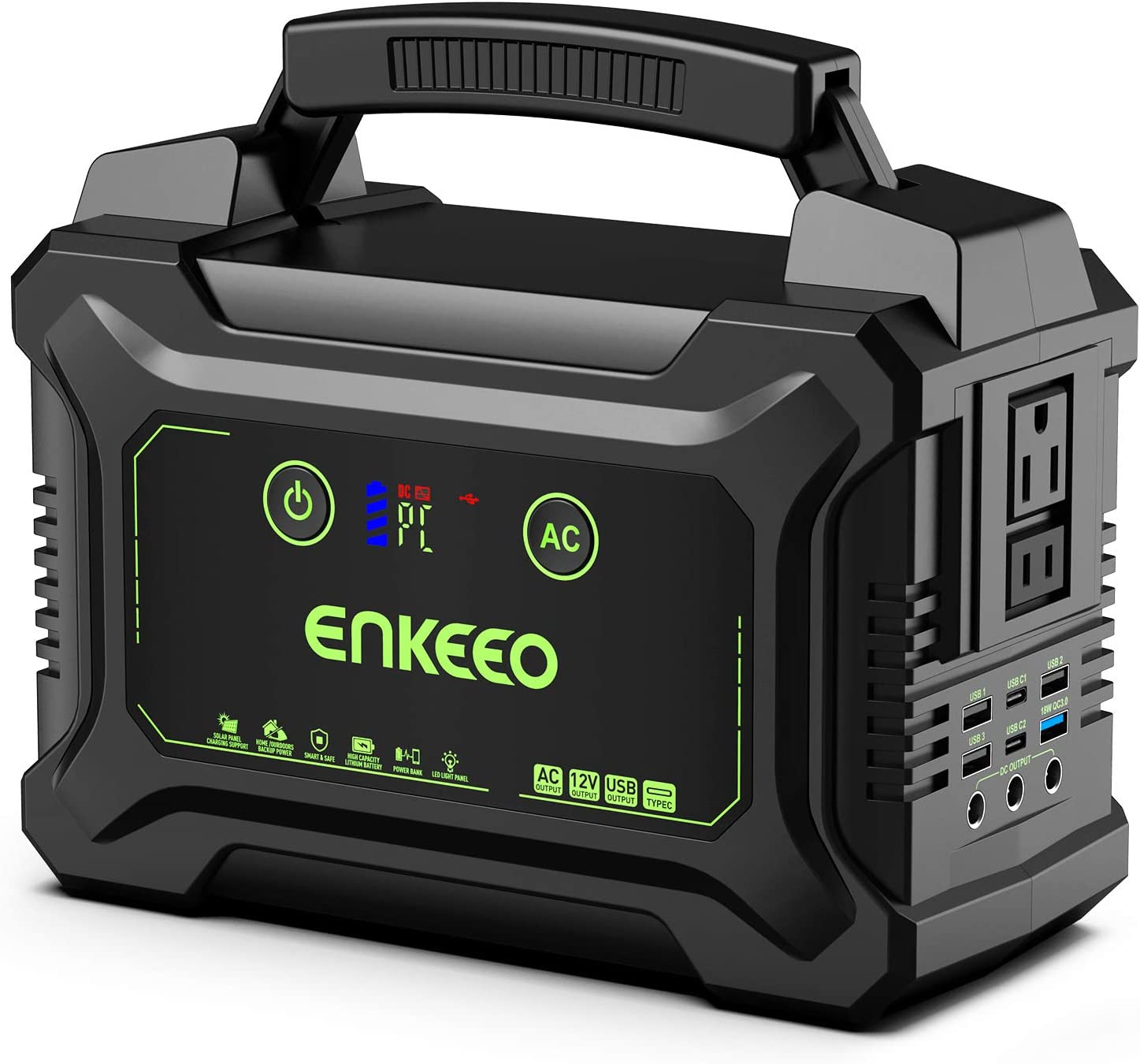 ENKEEO 222Wh Portable Power Station with Rechargeable Lithium-ion Battery, Power Generator with 110V 200W AC Outlet, 15V 3A Output, Easy Read LCD Display and LED Light for Camping and Emergency Use