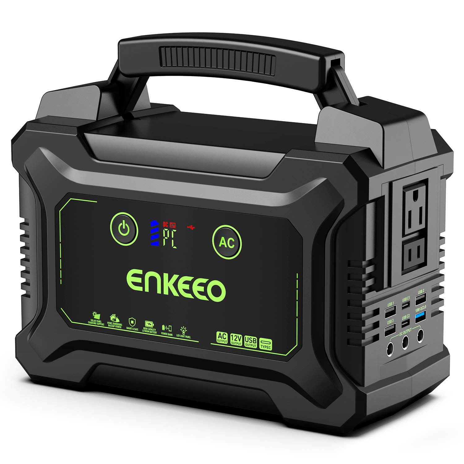 ENKEEO 222Wh Portable Power Station with Rechargeable Lithium-ion Battery, Power Generator with 110V/200W AC Outlet, 15V/3A Output, Easy Read LCD Display and LED Light for Camping and Emergency Use by ENKEEO