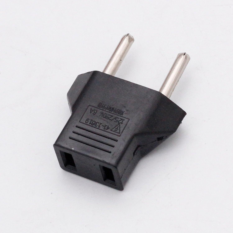 6X US USA to EU Euro Europe Power Jack Wall Plug Converter Travel Adapter
