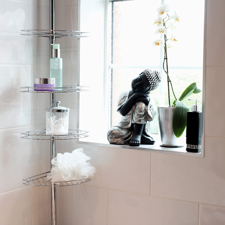 bed beyond proof bath size full storage bathroom caddy photo rust shelves superb niche installation winsome shower shelf unit