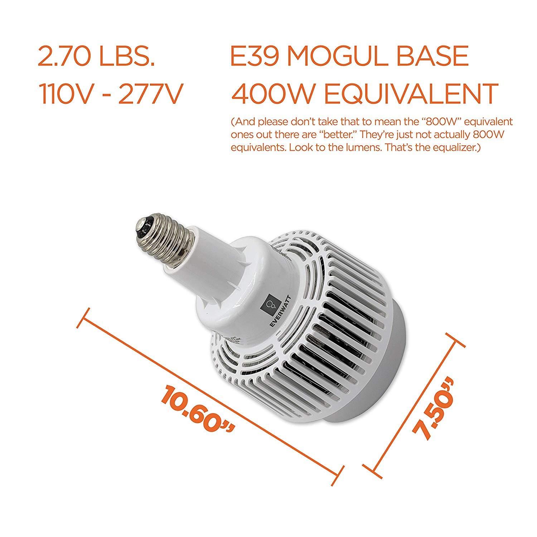 Large Mogul E39 Base IP64 Waterproof Outdoor Indoor Area Lighting CFL 1000W Equivalent Replacement for Metal Halide HID 5000K HPS 200W LED Corn Light Bulb 29189 Lumens