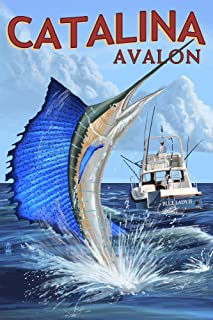 product image for Catalina Island, California - Avalon - Sailfish (12x18 Art Print, Wall Decor Travel Poster)