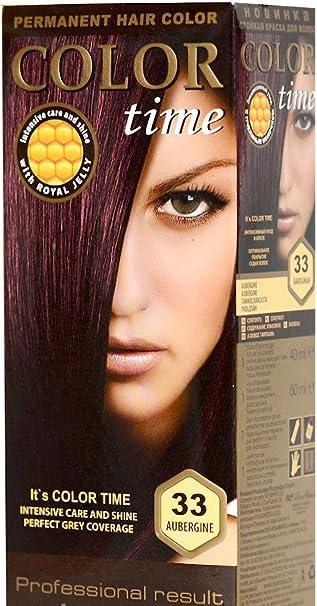 Color time, tinte permanente para el cabello de color berenjena 33