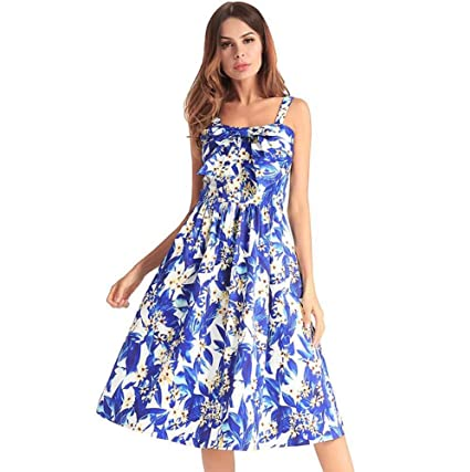 b0de384d94 Onfly Women Sweet Floral Bowknot Suspenders Dress Retro Tube Top Swing Midi  Skirts Fold High Waist Zipper A Line Skirt OL Dress Party Dre Eu Size S-XXL